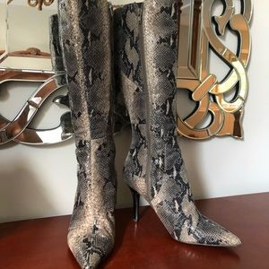 Faux snakeskin heeled boots!